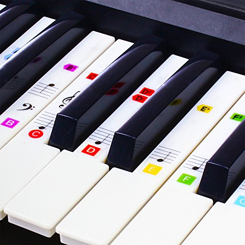 Piano Stickers for Keys, Reusable COLOR Piano Keyboard Stickers for 49/61 / 76/88 Keyboards, Help for Piano Lessons, FREE Instructions, Gift For Beginner To Learn To Play Keys & Notes ()