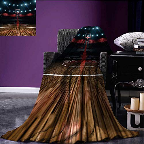 Teen Room Decor Cozy Flannel Blanket Professional Basketball Arena Stadium Before Game Championship Sports Image Warm Blanket Multicolor Bed or Couch 90
