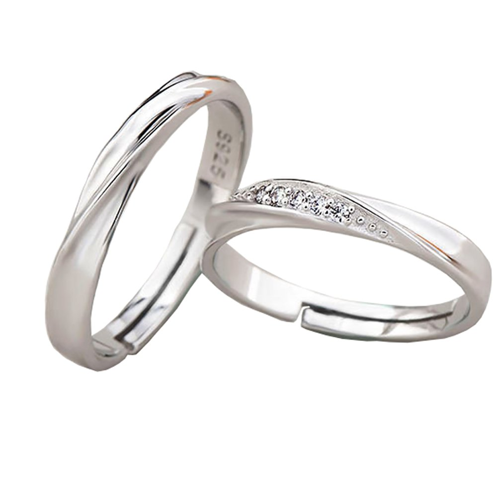 Tidoo Jewelry 925 Sterling Silver Simple Couples Rings the Best Gift for Lover