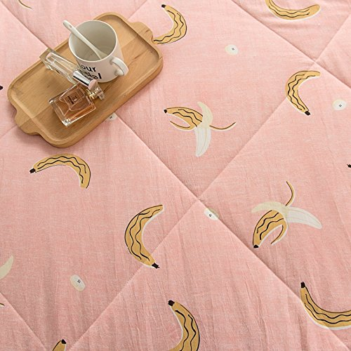 KFZ Cotton Quilt Comforter Cotton Bedspread Bed Cover for Bedding Set CJF SXMMH twin Full Queen Size Necklace Plaid Banana Fruit Design for Kids Adults Teens 1pc Banana, Pink, Twin 59x79