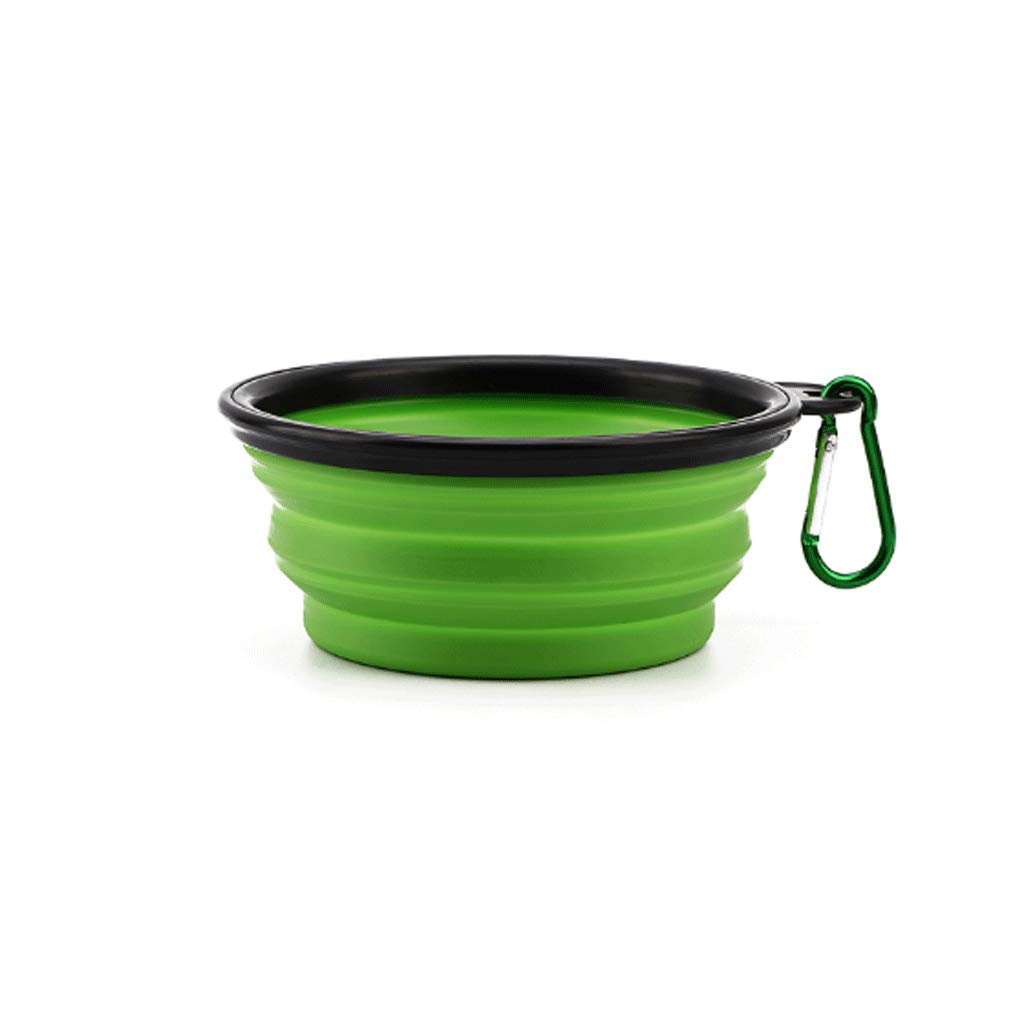GREEN L GREEN L Large Pet Silicone Folding Bowl Out Portable Pet Supplies (color   Green, Size   L)
