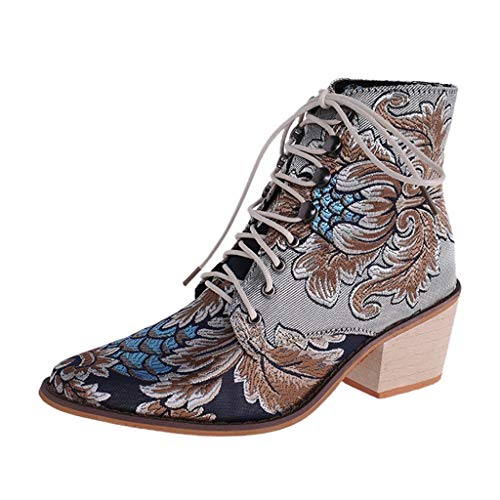 Women's Stylish Ankle Boots,WUAI Waterproof Boots Retro Pointed Toe Lace Up Embroidery Suede Martin Boots