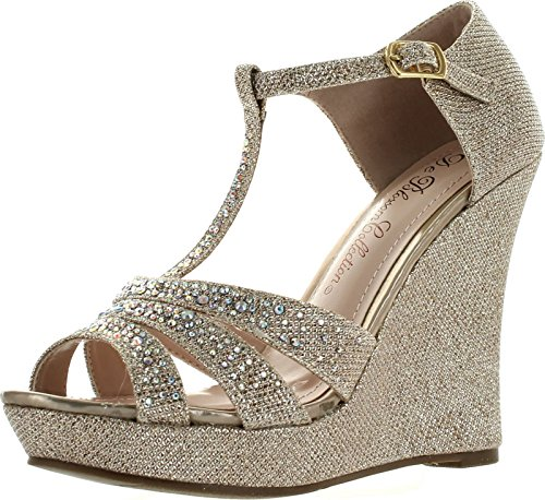 DeBlossom Womens Dressy Glitter Rhinestone T Strap Platform Wedge Sandal Aalle-2,Champagne,6.5