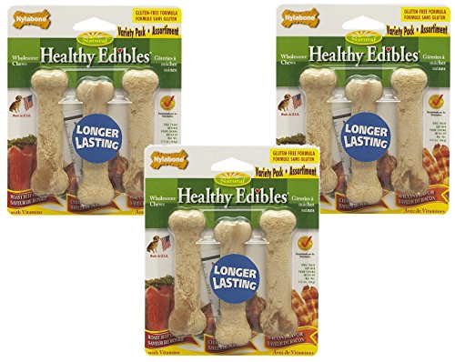 - Nylabone Healthy Edibles Variety Pack, Size Petite - 9 Bones Total(3 Packages with 3 Bones Each)
