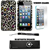 Colorful Leopard 2 piece Cover Shield Protector Case For Apple iPod Touch 5 ( 5th Generation) 32GB, 64GB + Anti Glare Screen Protector Guard + Supertooth Disco Bluetooth Speaker with AUX Cable + an eBigValue ™ Determination Hand Strap