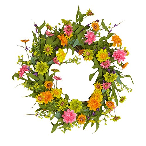 (Your Heart's Delight Chrysanthemum with Twig Base Wreath, 22-Inch)