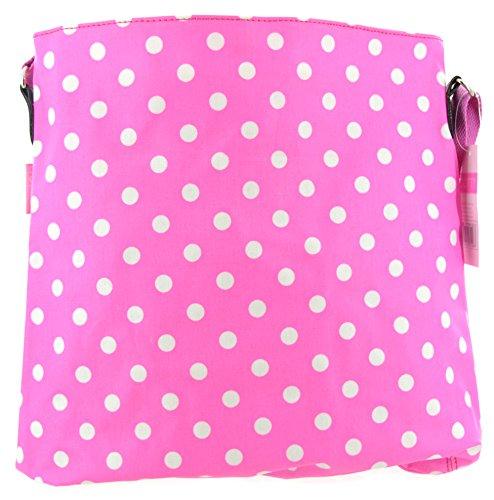 Borsa a tracolla, a pois, 40 cm, colore: rosa e bianco