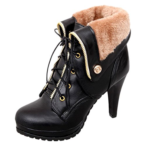 High Heel Ankle Boots For Women Winter Shoes Lace Up Plush Platform Booties