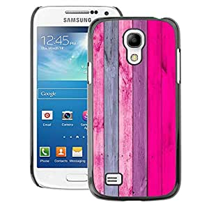 A-type Arte & diseño plástico duro Fundas Cover Cubre Hard Case Cover para Samsung Galaxy S4 Mini i9190 (NOT S4) (Wood Pattern Texture Pink Grey)