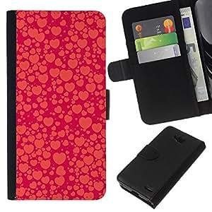 KLONGSHOP // Tirón de la caja Cartera de cuero con ranuras para tarjetas - corazón púrpura naranja burbuja melocotón rojo - LG OPTIMUS L90 //