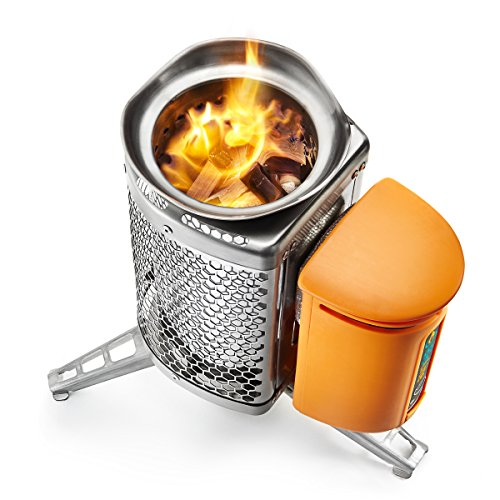 BioLite CampStove 1 Wood Burning Small Lightweight Stove with Internal Fire Starter, Generates Electricity for USB Charging Using Excess Heat, 1st Generation, 5 x 5 x 8.3 Inches, Silver (CSA)