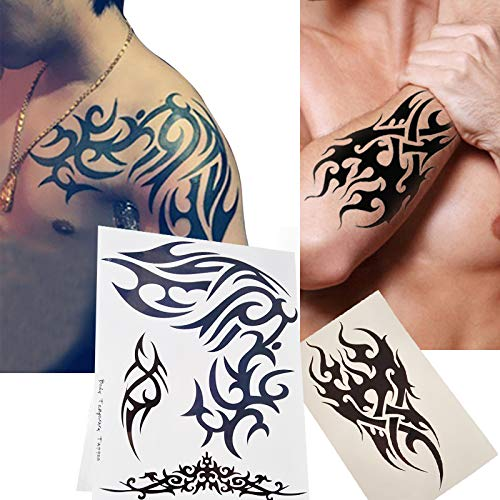 Kotbs 2 Sheets Large Waterproof Temporary Tattoo for Men Women Big Shoulder Tribal Totem Tattoo Sticker Body Art Fake Tattoo (Best Tribal Shoulder Tattoos)