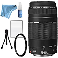 Canon EF 75-300mm f/4-5.6 III Lens with UV Filter, Table Top Tripod, Lens Cleaning kit and LCD Screen Protectors