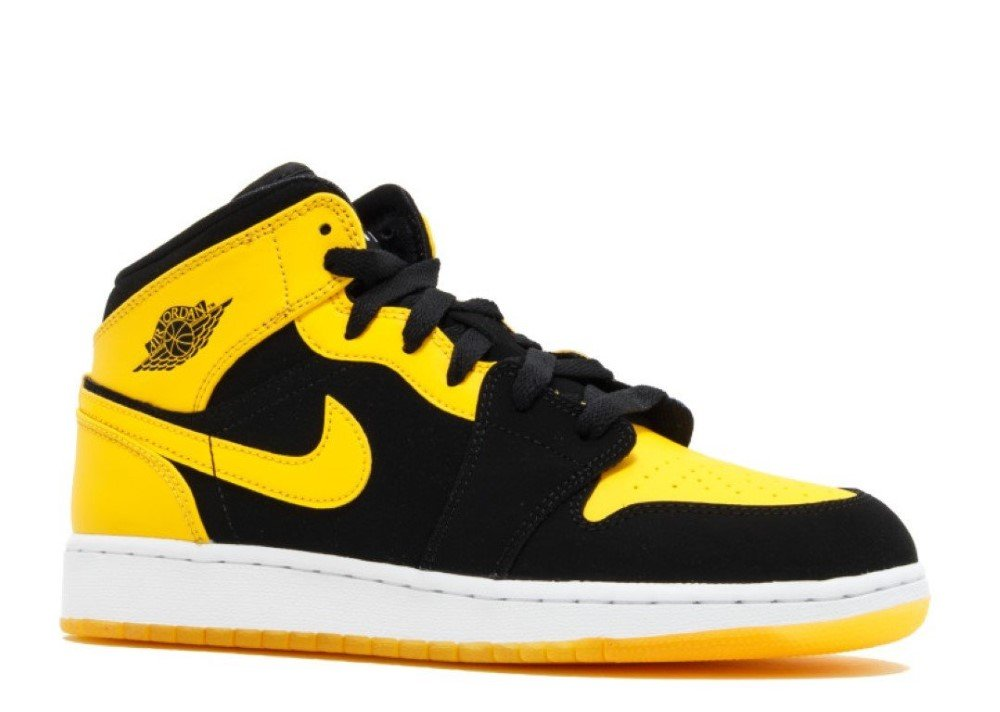 best website 8568b a24e4 Amazon.com  Nike Air Jordan 1 Mid BG Sneaker Basketball Shoes, EU Shoe  Size EUR 38, Color Black Yellow  Jordan  Sports   Outdoors