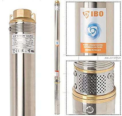 2,5 Tiefbrunnenpumpe Tauchpumpe 550W Sandvertr/äglich mehrstufige 2700l//h Pumpe