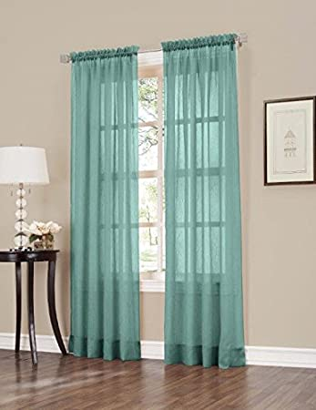 Easy Care Fabrics 2 Piece Mineral Sheer Crushed Voile Window Covering/Curtain/Drape/Panel/Treatment 50-Inch X 63-Inch MLA 104200.0