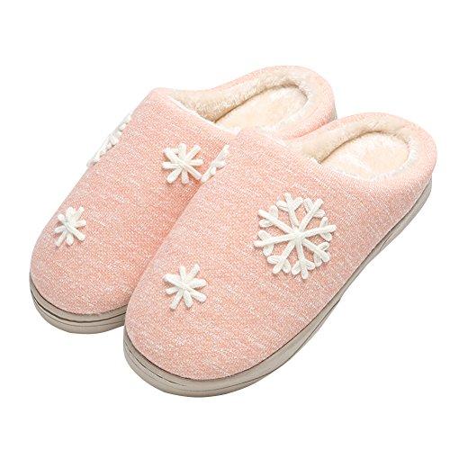 Goreuns Soft Winter Warm Washable Womens House Slippers Pink svDOL