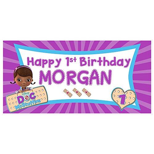 Doc McStuffins Birthday Banner Personalized Party Backdrop Decoration -
