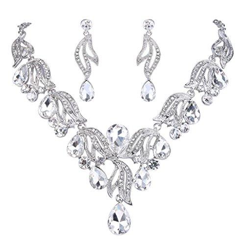 Dangle Floral Bridal Set (BriLove Women's Bohemian Boho Bridal Crystal Flower Teardrop Statement Necklace Dangle Earrings Set Silver-Tone Clear)
