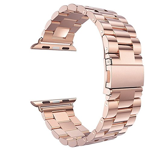 eLander 42mm Stainless Steel Metal Strap Business Replacement Band for Apple Watch Series 3 Series 2 Series 1 Sport and Edition (42mm Rose Gold)