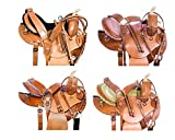 AceRugs 14″ 15″ 16″ Pink Green Purple Western Barrel Racing Round Skirt Pleasure Trail Leather Horse Saddles TACK Set