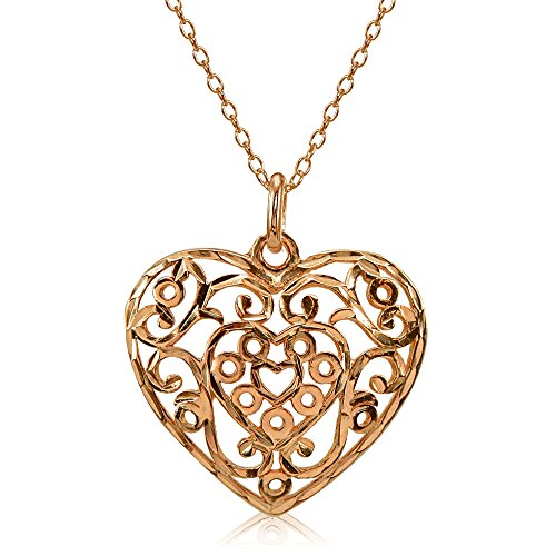 (Rose Gold Flashed Sterling Silver High Polished Diamond-cut Filigree Heart Pendant Necklace)