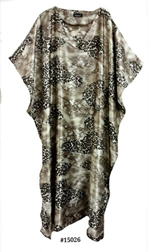Femmes 100% Polyester Woven Silky Satin Long Kaftan. One Size Fit All:- UK 10-32