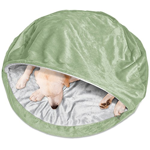 FurHaven Round Microvelvet Orthopedic Snuggery Burrow Pet Bed, Sage, 35