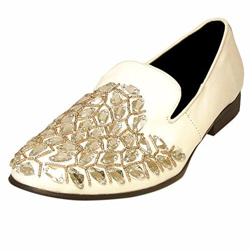 Fiesso Läder Slip Ons För Män - Loafers Med Läder, Mjukt Läder Foder Och Vadderade Innersula | Mode Sko Vit