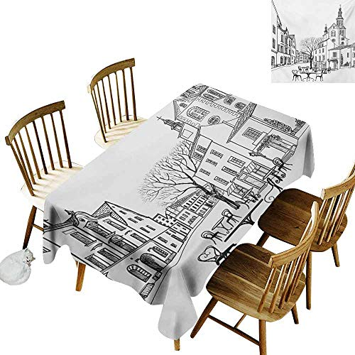 Mannwarehouse Cityscape Polyester Tablecloth Street Cafe in Old City Houses Buildings Tree Alleyway Medieval Castle Landscape Party W52 x L70 Black White ()