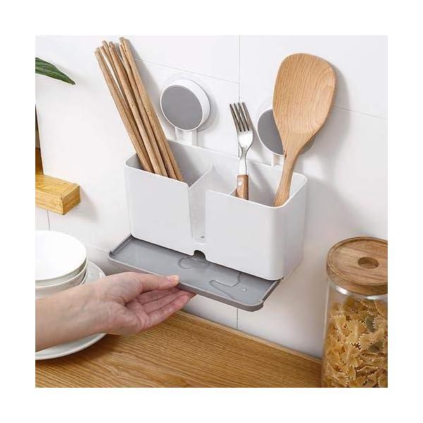 51zT3PiWOOL Halterung für Besteck Küchenablage Besteckhalter Spülbecken Organizer Küche Drainer Rack Utensilienhalter zum Aufhängen…