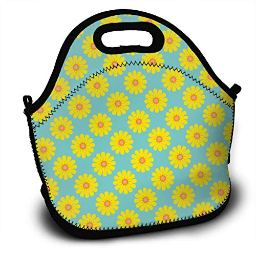 100% Polyester Lunch Bag Insulated and Reusable Picnic Lunch Bag for Men and Women Bumblebee Yellow Sunflowers Lightweight Lunch Bag for Use in Office Schools (Cap Toddler Bee Bumble)