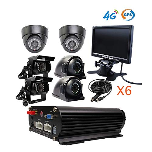 - JOINLGO 8 Channel GPS 4G 1080N AHD HDD Mobile Vehicle Car DVR MDVR Video Recorder Kit Real-time Monitor on PC Phone with 6pcs 1080P 2.0MP Dome Side Rear Back View IR Car Camera 7 inch VGA Car Monitor