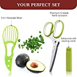 Seleneco 5 Blade Herb Scissors with Safety Cover and Avocado Slicer | Multipurpose Kitchen Shears for Chopping Herbs | Heavy Duty Stainless Steel | Art, Home, Office, Utility Use