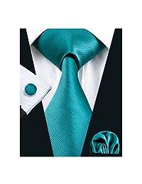 Hi-Tie Plain Turquoise Necktie for Men Solid Color