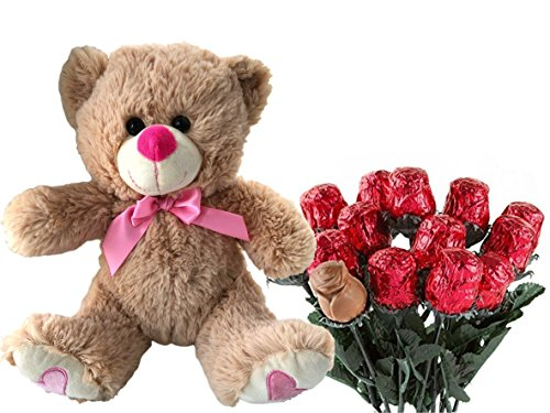Valentines Day Gift Basket | Teddy Bear Plush 12 Inches (Color may Vary) & A dozen Belgian Milk Chocolate Rose Bouquet | For Her Wife Girlfriend Mother Daughter