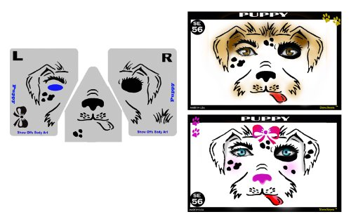 Face Painting Stencil - StencilEyes Puppy - (Halloween Puppy Face Paint)
