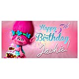 Trolls Poppy Birthday Banner Personalized Party Decoration Backdrop