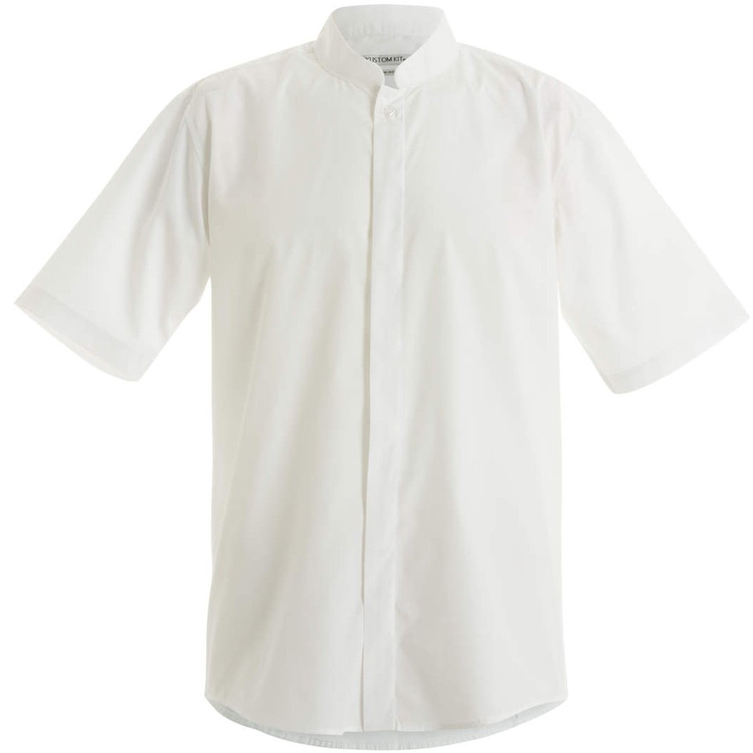 KUSTOM KIT Mens Mandarin Collar Fitted Short Sleeve Shirt