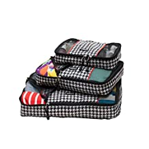 ORB Travel-PC302-Houndstooth-Black/White/Red-3pc Packing Cubes travel organizing system carry-on luggage storage pack-Various size set