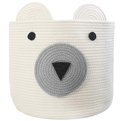 COMEMORY Bear Basket, Toy Storage Bin, Cotton Rope Basket, Woven Laundry Hamper, Cute Storage Basket for Toys, Cloths in Bedroom, Nursery & Living Room