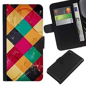 All Phone Most Case / Oferta Especial Cáscara Funda de cuero Monedero Cubierta de proteccion Caso / Wallet Case for Sony Xperia Z3 D6603 // Colorful Cubes Neon