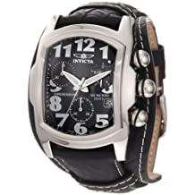 Men's Lupah Chronograph Black Dial Black Genuine Leather Cuff