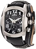Invicta Men's 11321 Lupah Chronograph Black Dial Black Leather Watch