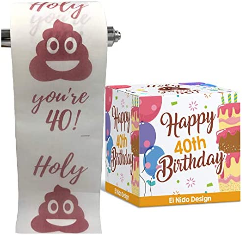 fortieth Birthday Toilet Paper - Happy birthday rest room paper prank– Funny fortieth birthday items for women and men– very best good friend birthday items– Novelty Toilet paper roll gag items – 3 Ply (fortieth Birthday)