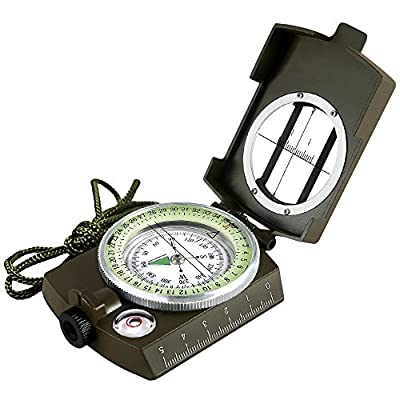 Eyeskey Multifunctional Military Army Metal Sighting Compass with Pouch Waterproof for Outdoor Activities Green/Camouflage from Eyeskey