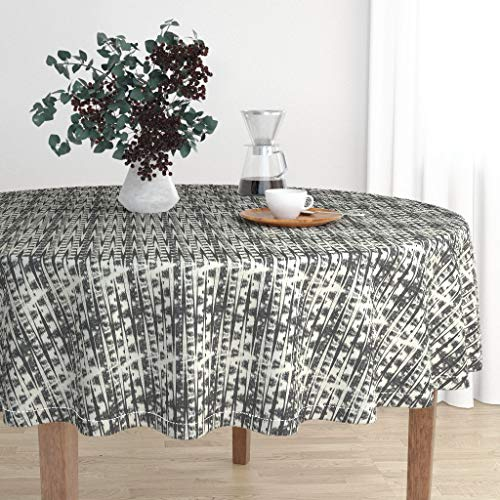 (Roostery Round Tablecloth - Ikat Triangles Geo Backgammon Black Cream by Bohemiangypsyjane - Cotton Sateen Tablecloth 70in )
