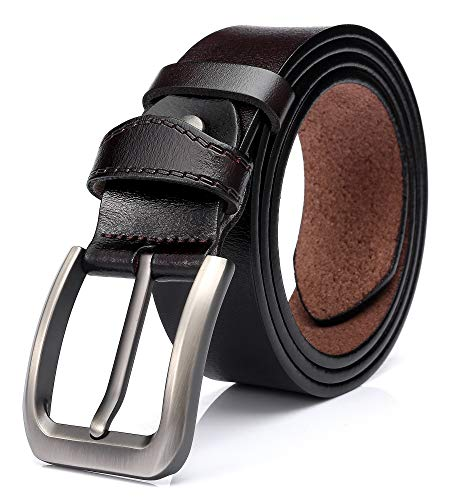 SUNAHEAD Men's Genuine Leather Belt Cut-to-Fit 1.5 inch Casual Belts for Jeans, Dark Brown (Waist 28-32 inches)