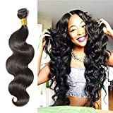 Body Wave Remy Human Hair Weave 30 Inch Long Unprocessed Virgin Indian Hair Extensions for Afro American Women Natural Black #1B (1 Bundle 100g)