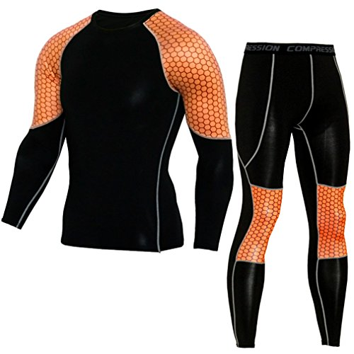 NATURET Compression Pants Running Tights & Men's Athletic Long Sleeve Baselayer Shirt Skin Fitness Lycra -